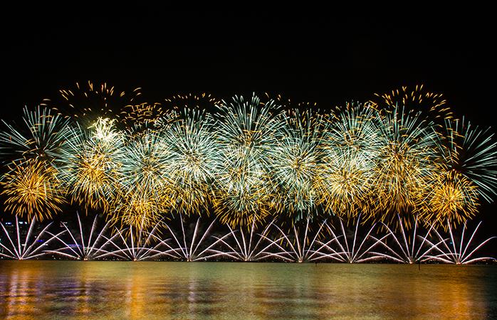 Bij de historische Hofvijver in Den Haag wordt elk jaar een magische vuurwerkshow georganiseerd