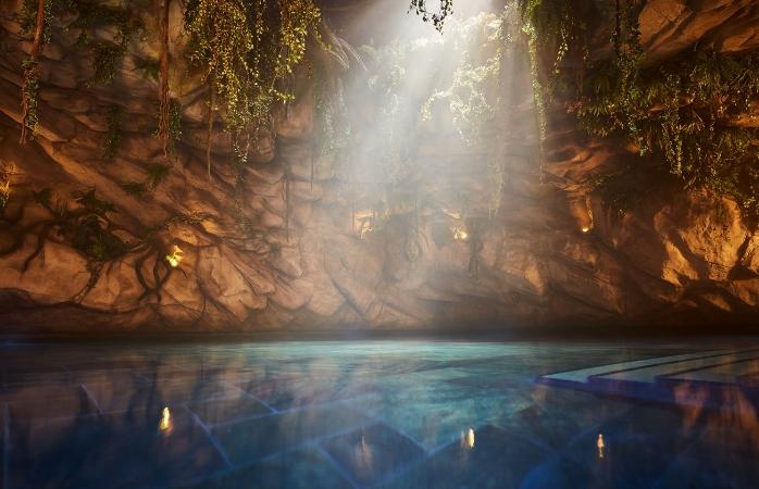 Geniet van het unieke zoutwaterbad met rustgevende onderwatermuziek.