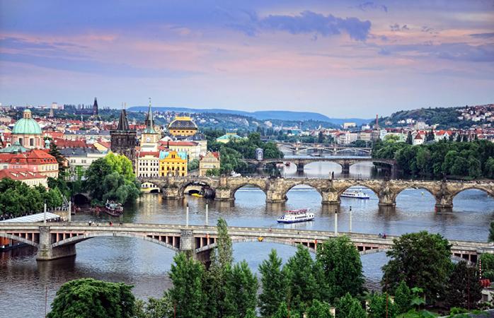 Een prachtig uitzicht over Praag