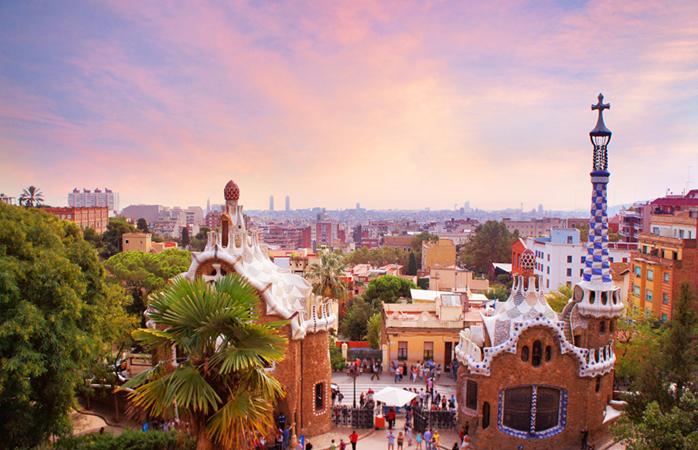 Uitzicht op Park Güell in Barcelona
