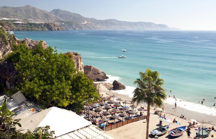 Nerja Beach in de provincie Malaga, Andalusië