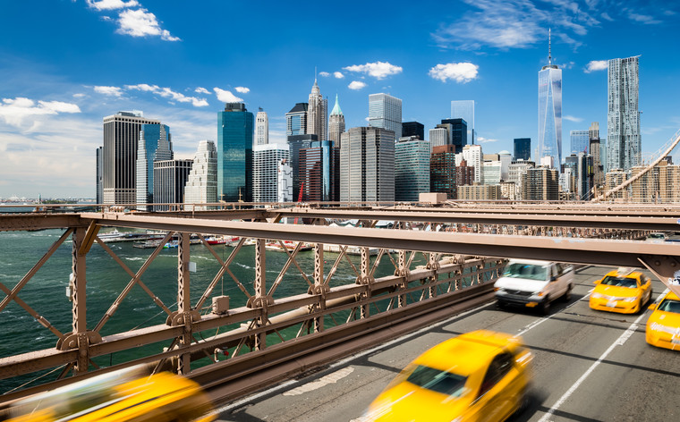 Brooklyn Brigde met uitzicht op Manhattan. New York, Verenigde Staten.