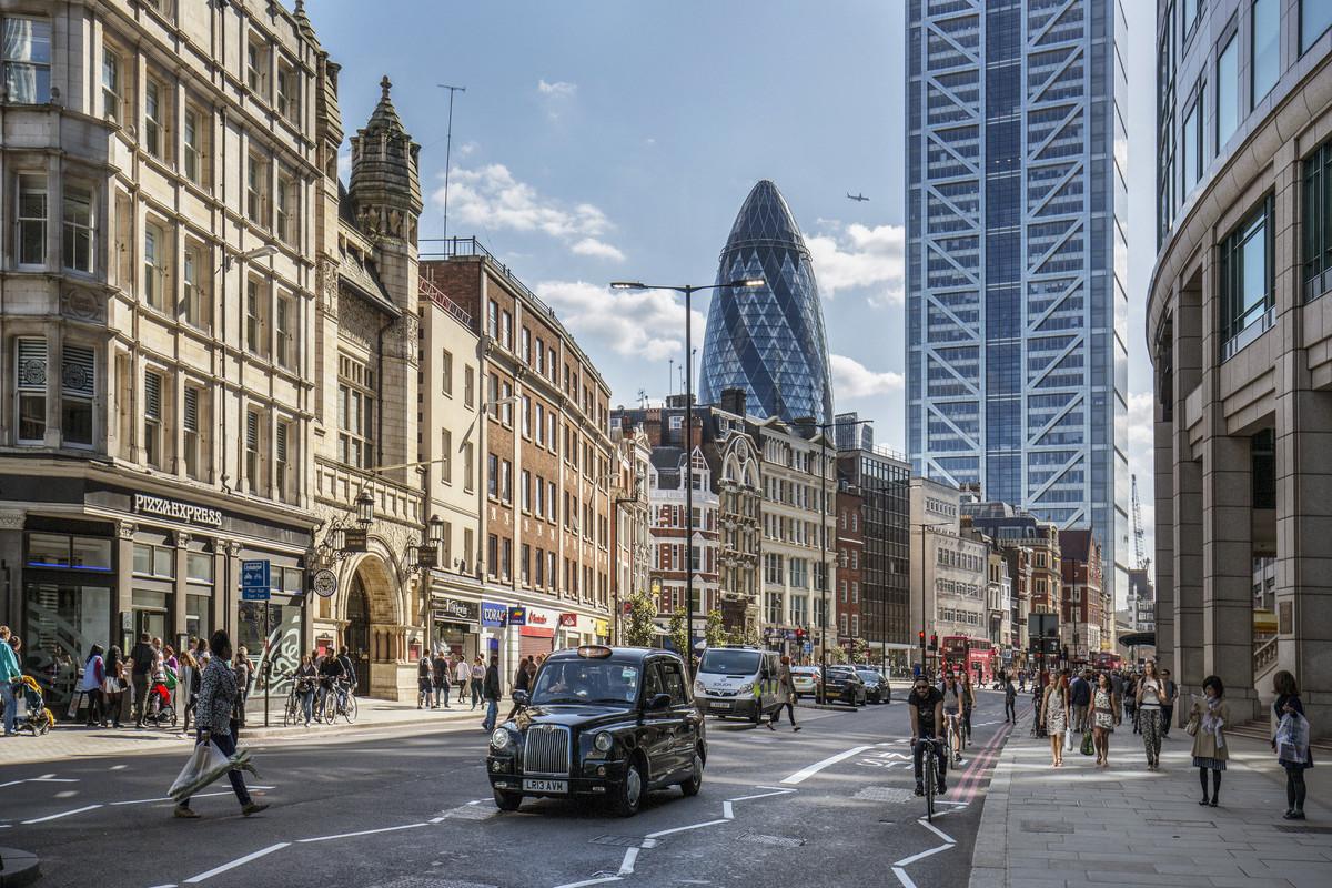 Bishopsgate street, in het financiële hart van London.